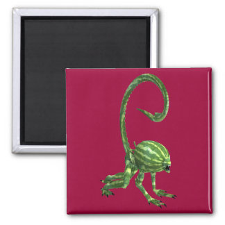Green Watermelon Extraterrestrial Species Square Magnet