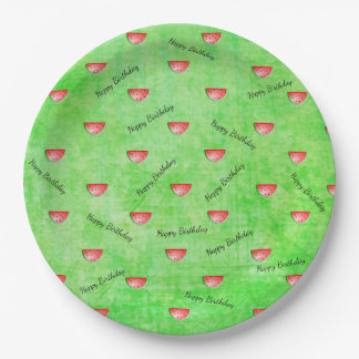 Green Watermelon Happy Birthday Paper Plates