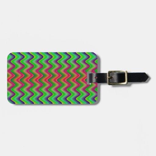 "Green Waves 2.25"" Basic Button Keychain Bag Tag"
