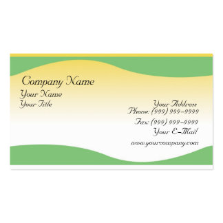 Green waves on gradient yellow. pack of standard business cards