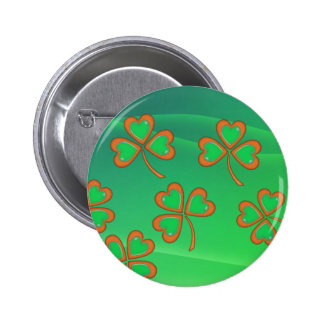 GREEN WAVES & SHAMROCKS by SHARON SHARPE 6 Cm Round Badge