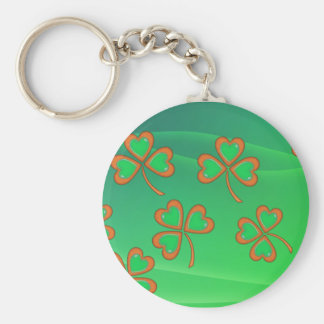 GREEN WAVES & SHAMROCKS by SHARON SHARPE Basic Round Button Key Ring