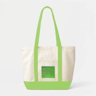 GREEN WAVES & SHAMROCKS by SHARON SHARPE Impulse Tote Bag