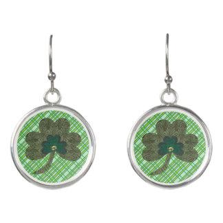Green Weave with Shamrock Earrings