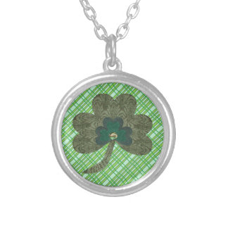 Green Weave with Shamrock Silver Plated Necklace