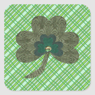 Green Weave with Shamrock Square Sticker