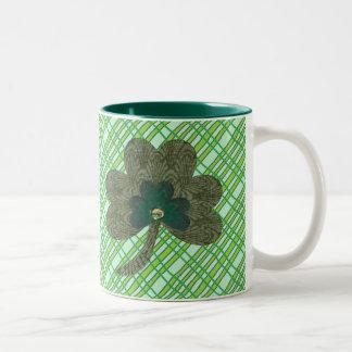 Green Weave with Shamrock Two-Tone Coffee Mug