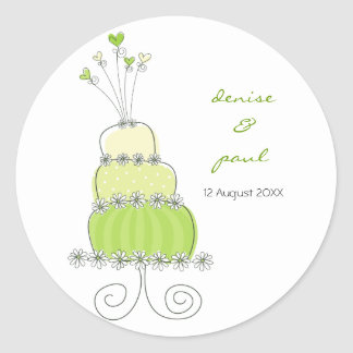 Green Wedding Cake Thank You Gift Label Sticker