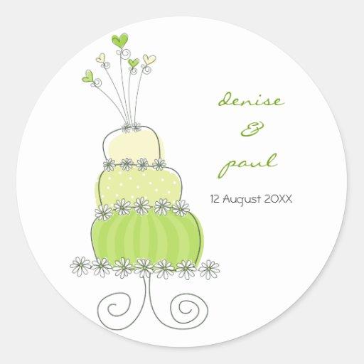 Green Wedding Cake Thank You Gift Label Sticker