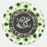 Green Wedding Favour Labels Round Sticker