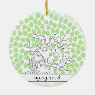 Green Wedding Fingerprint Tree nr 1 Round Ceramic Decoration