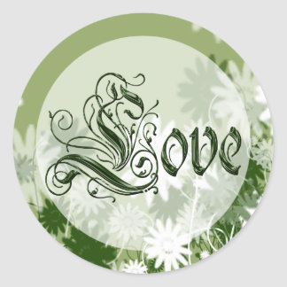 Green Wedding Floral Love Envelope Seal Round Sticker