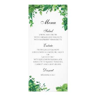 Green wedding menu outdoor. Summer dinner menu Rack Card Design