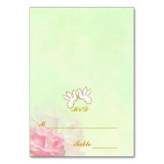 GREEN WEDDING PLACE CARDS, LOVE BIRDS FLOWER SET TABLE CARD