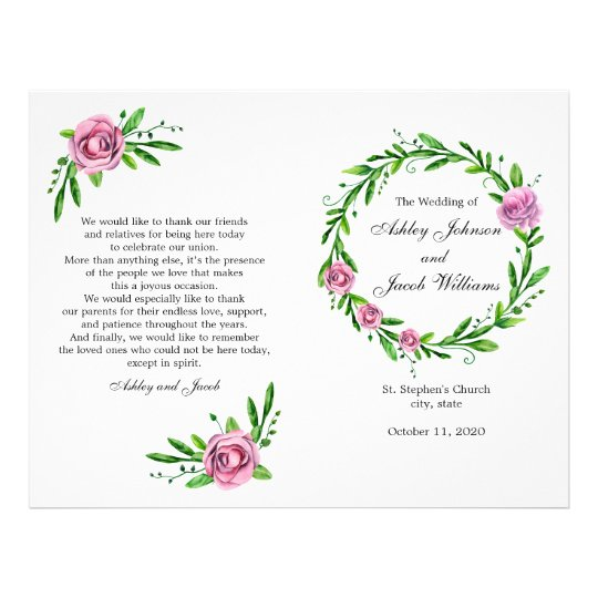 Green wedding program. Summer church ceremony Flyer