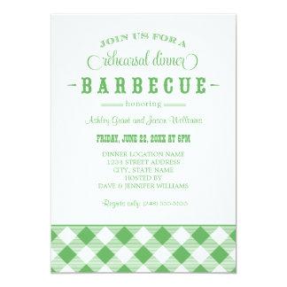 Green Wedding Rehearsal Dinner | Casual BBQ 13 Cm X 18 Cm Invitation Card