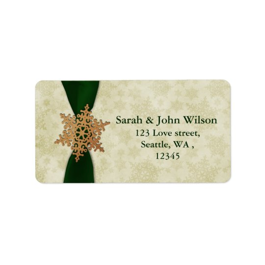 green wedding snowflake return address label