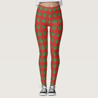 Green Weed Leaf  on Red Leggings
