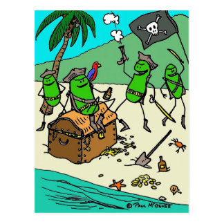 """Green Weenii """"Pirate Party"""" Postcard"""