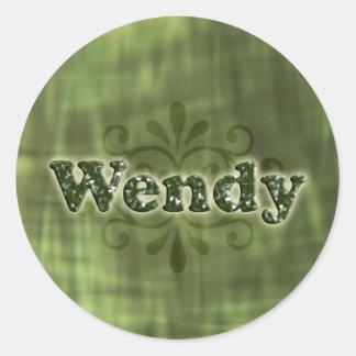 Green Wendy Round Sticker