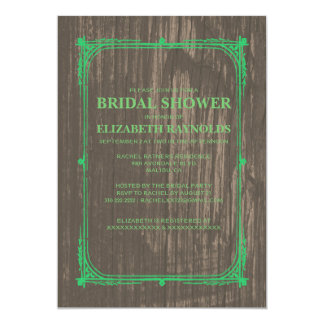 Green Western Barn Wood Bridal Shower Invitations Personalized Announcements