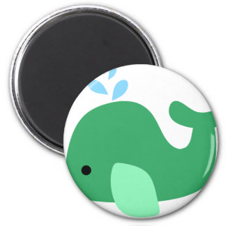 Green Whale 6 Cm Round Magnet