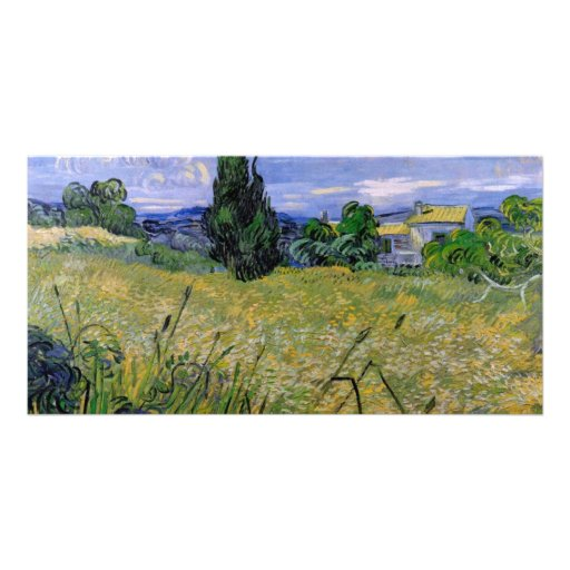 Green Wheat Field with Cypress by Van Gogh Photo Cards