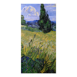 Green Wheat Field with Cypress by Van Gogh Photo Card Template