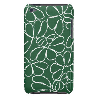 Green Whimsical Ikat Floral Petal Doodle Pattern Barely There iPod Case