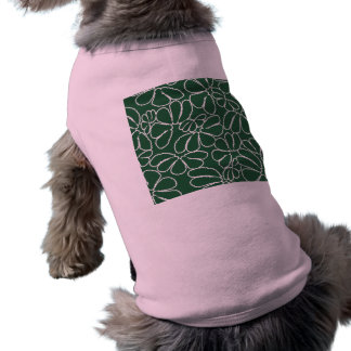 Green Whimsical Ikat Floral Petal Doodle Pattern Sleeveless Dog Shirt