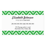 Green whimsical zig zags zigzag chevron pattern business card templates
