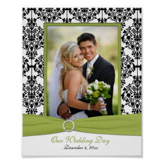 Green, White, and Black Damask Photo Frame Insert Poster