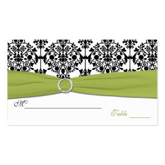 Green, White and Black Damask Placecards Business Card Template