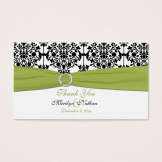 Green, White and Black Damask Wedding Favor Tag