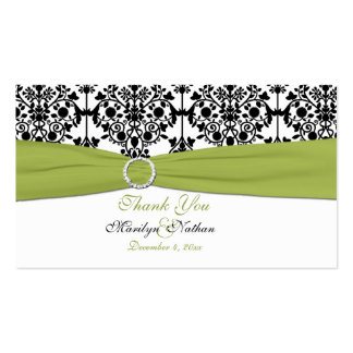 Green, White and Black Damask Wedding Favor Tag Pack Of Standard Business Cards