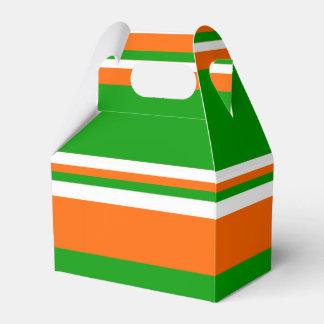 Green, White and Orange Stripes Favour Box