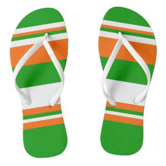 Green, White and Orange Stripes Flip Flops