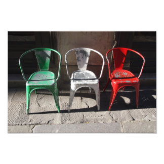 Green, White and Red : Italian Flag of Chairs Photo Print