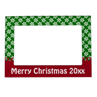 Green White and Red Snowflake Personalized Frame Magnet