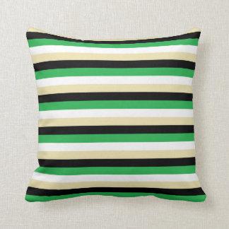 Green, White, Beige and Black Stripes Cushion