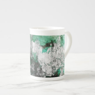 Green White Black Abstract Art Bone China Mugs