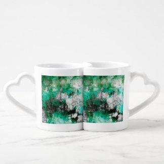 Green, White & Black Abstract Art Couple Mugs