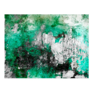 Green, White & Black Abstract Art Postcard