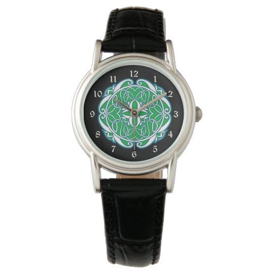 Green White Black Celtic Cross Wrist Watches