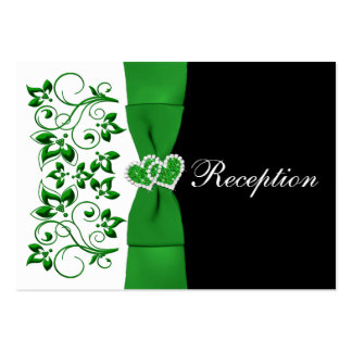 Green, White, Black Floral Wedding Reception Card Business Card Template