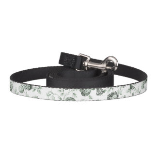 Green & White Botanical Floral Toile Pet Leash