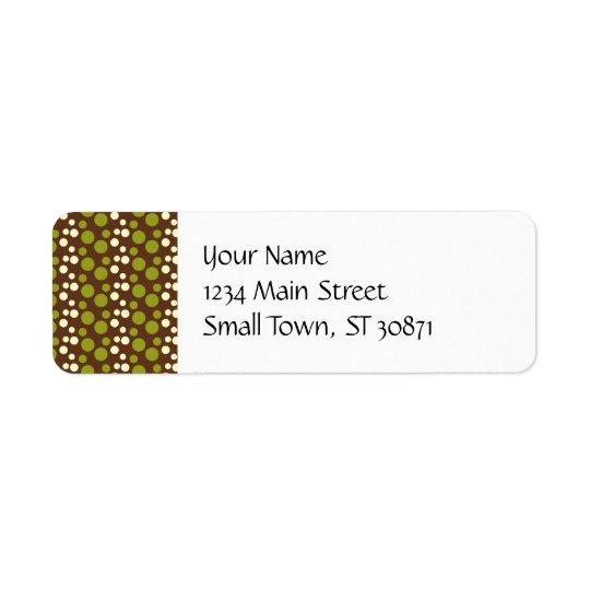 Green White Brown Polka Dots Pattern Return Address Label