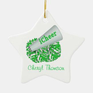 Green & White Cheerleader ornament