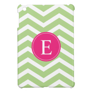 Green White Chevron Bright Pink Monogram iPad Mini Covers