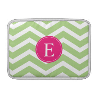 Green White Chevron Bright Pink Monogram Sleeve For MacBook Air